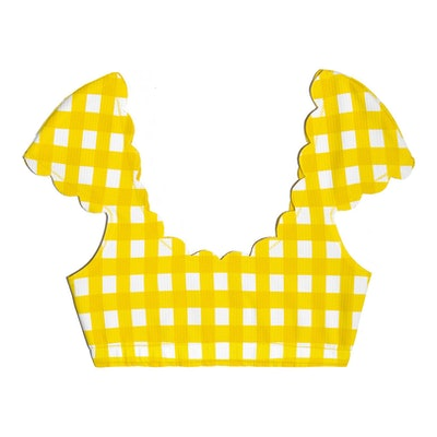 Womens Scalloped Mexico Top, Yellow Gingham