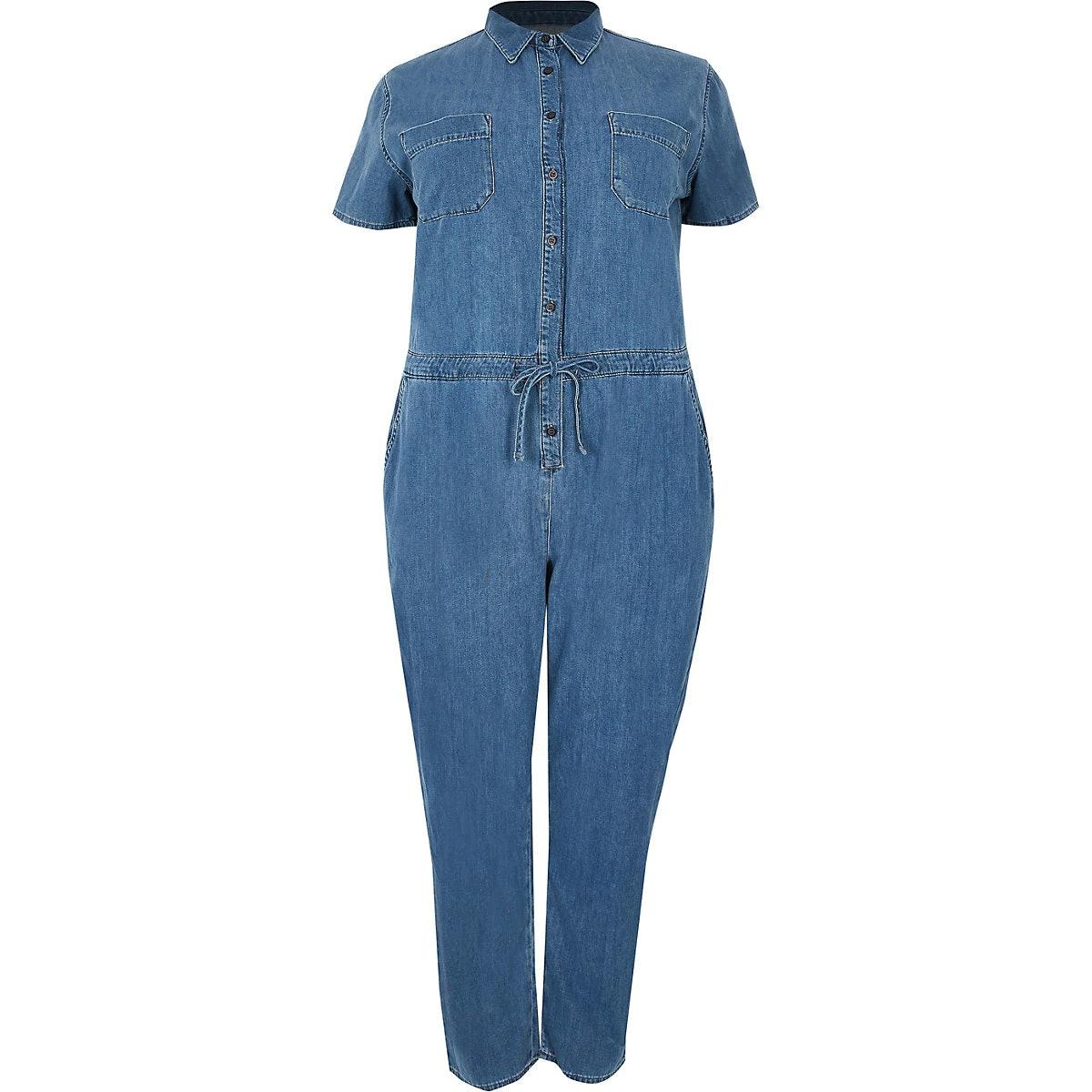 Plus blue utility denim jumpsuit