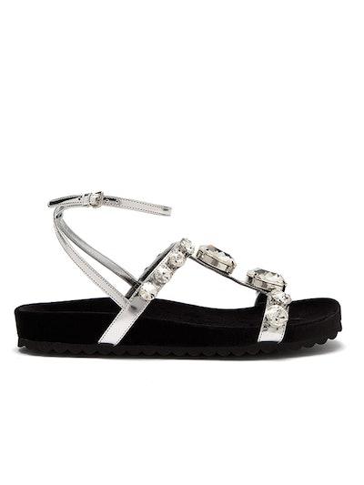 Crystal-Embellished Velvet And Leather Sandals