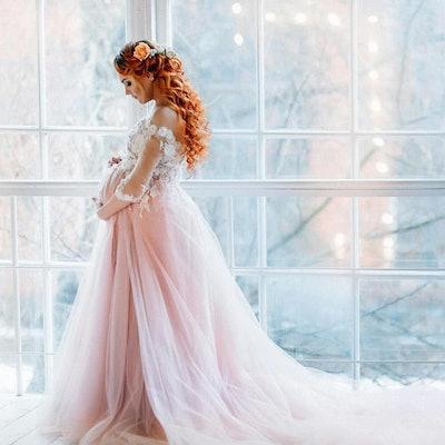 Off Shoulder Maternity Wedding Dress