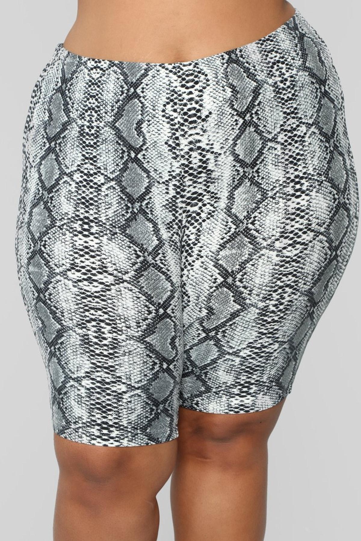 Medusa Snake Print Biker Shorts - Grey