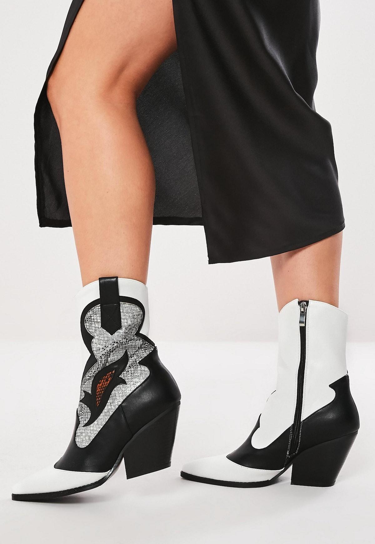 black western snake pattern cowboy ankle boots