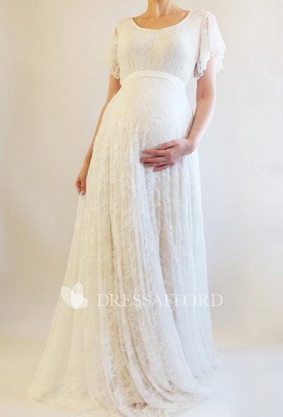 Beach Scoop Short Sleeve Bandage Pleated Maternity Wedding Dress