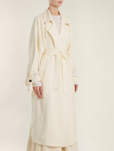 Notch-Lapel Belted Satin Trench Coat