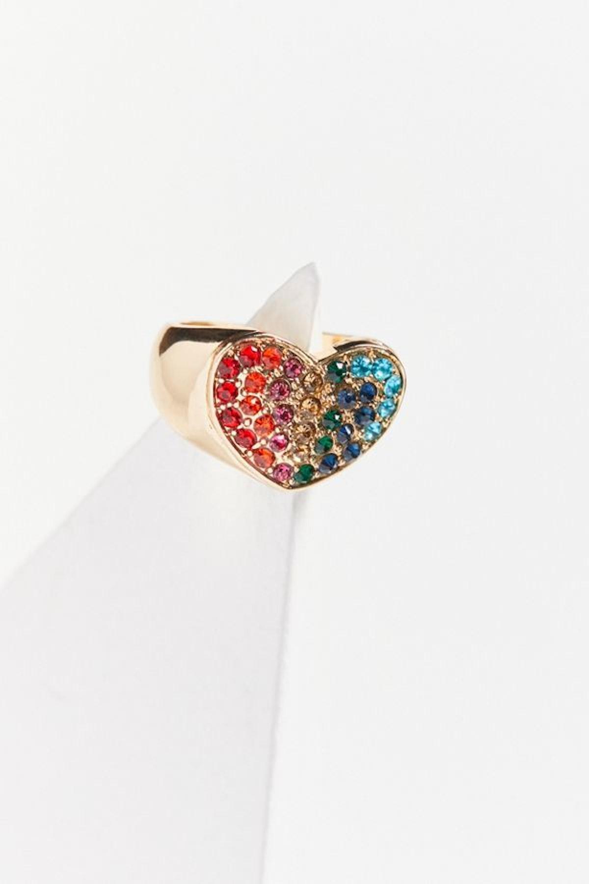 Rhinestone Rainbow Heart Ring