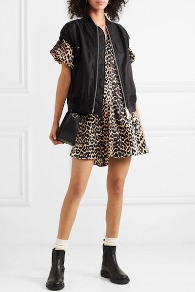 Leopard-Print Silk-Blend Satin Mini Dress