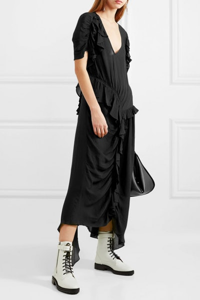 Ayaka Ruffled Ruched Asymmetric Crepe De Chine Dress