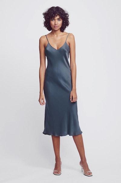 '90s Silk Slip Dress Smoke