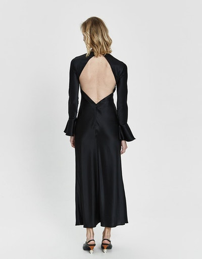 Open-Back Charmeuse Dress