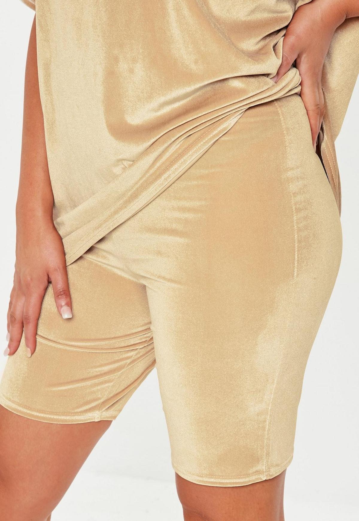 plus size camel velvet cycling shorts