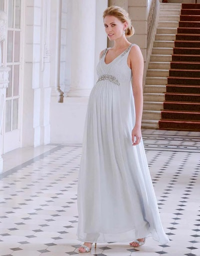Mist Gray Embellished Grecian Wedding Gown