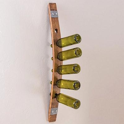 Repurposed Barrel Stave Hanging Wine Rack