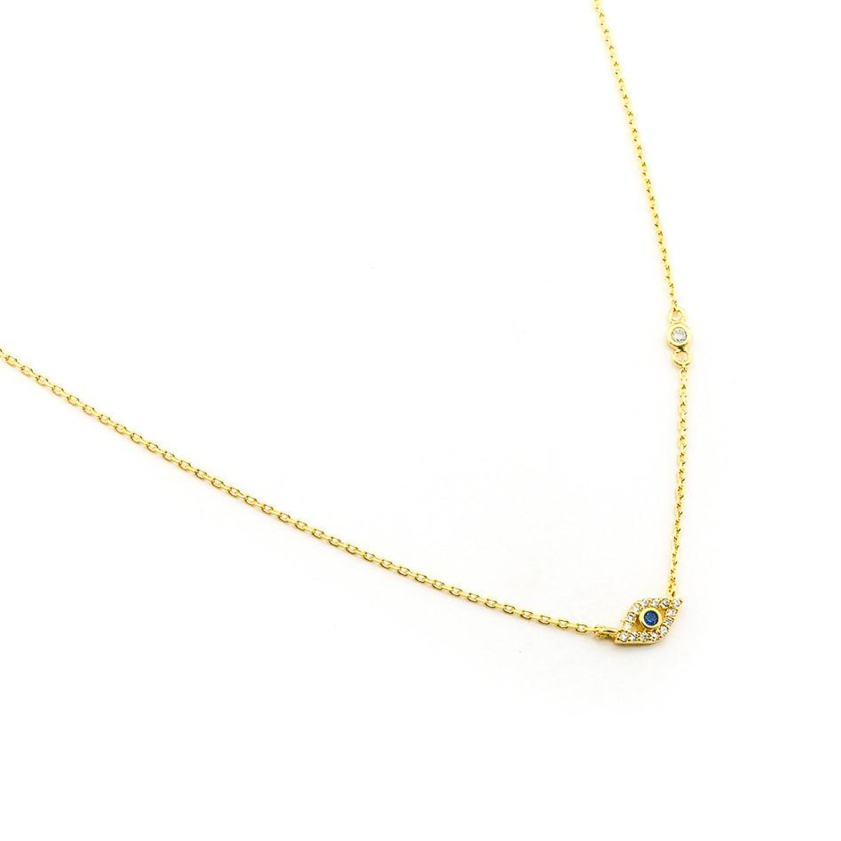 Tai Jewelry CZ Mini Evil Eye Pendant Necklace