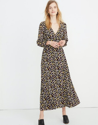 Wrap-Front Maxi Dress in French Floral