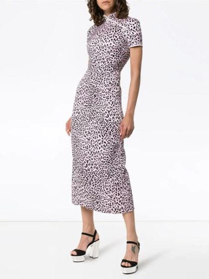 Fitted Cheetah-Print Silk Cheongsam Dress