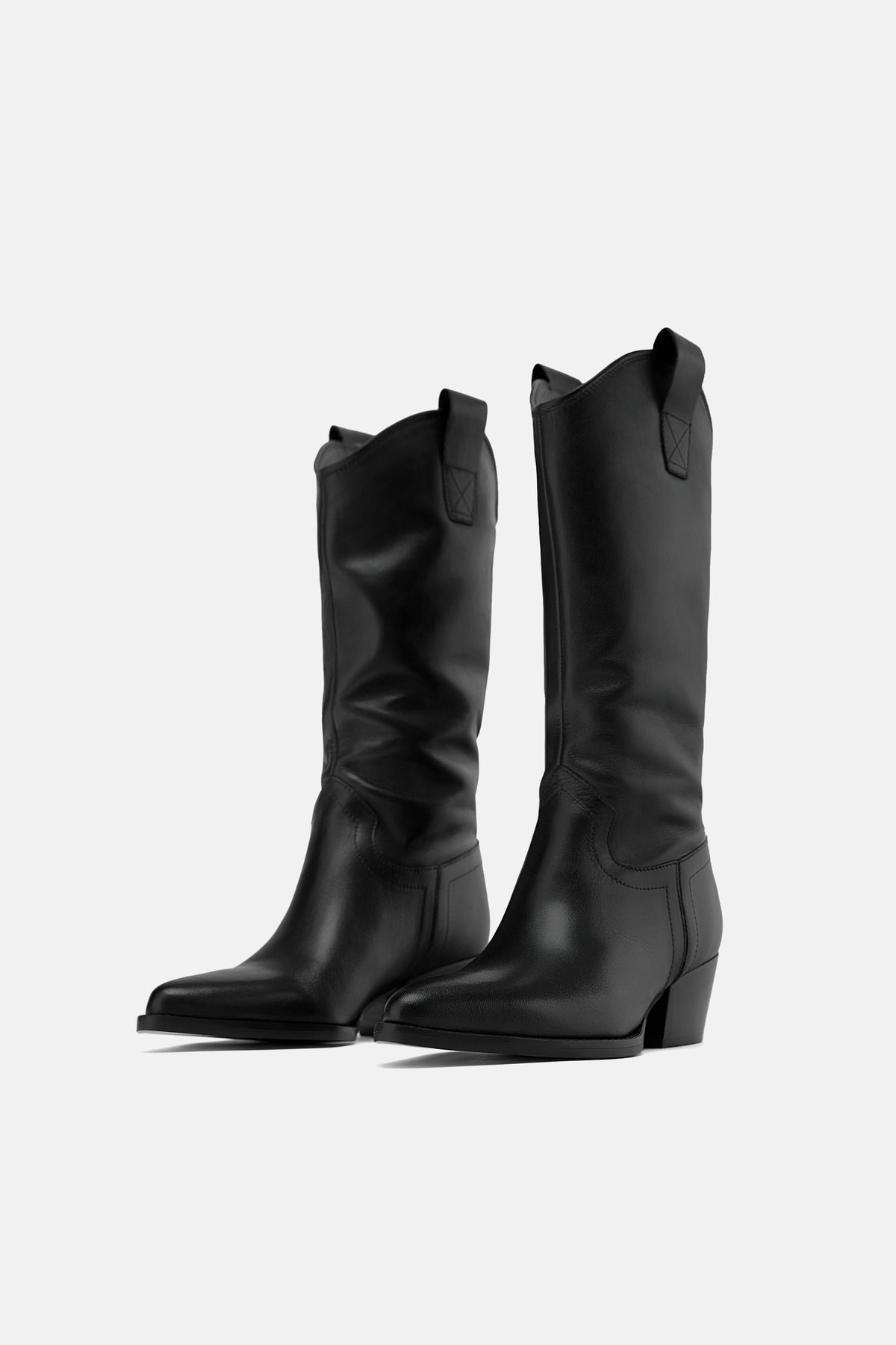HEELED LEATHER COWBOY BOOTS