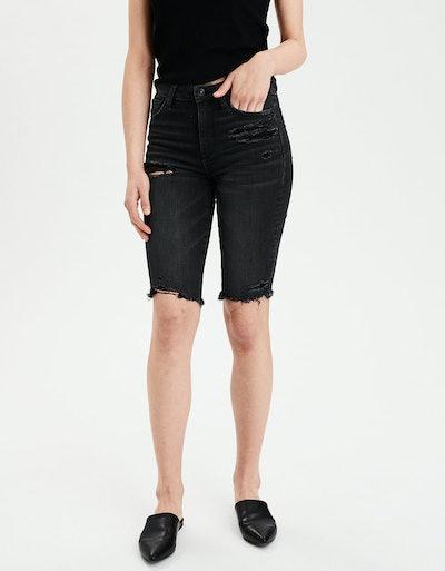 Ne(X)t Level Super High-Waisted Denim Biker Shorts