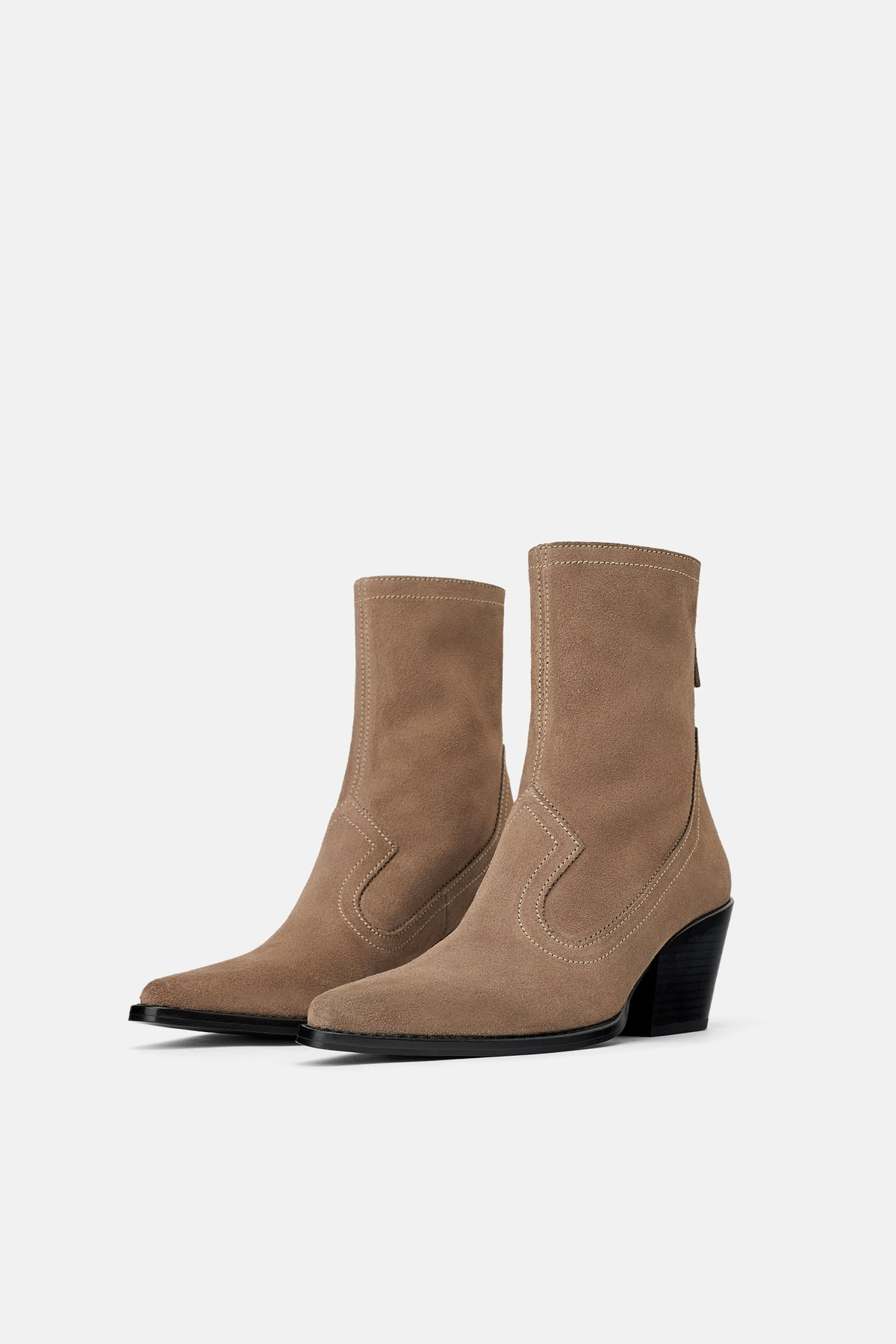 HEELED SPLIT LEATHER COWBOY ANKLE BOOTS