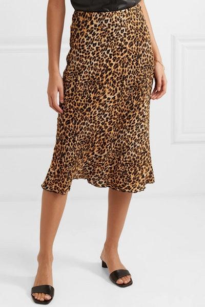 Zarina Leopard-Print Stretch Plissé-Jersey Midi Skirt