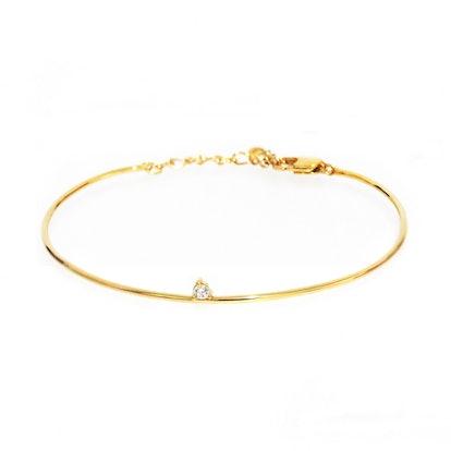 Tai Jewelry Single Tiny Stone Bangle Bracelet With Chain Closure