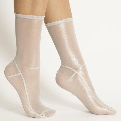 White Foil Mesh Socks