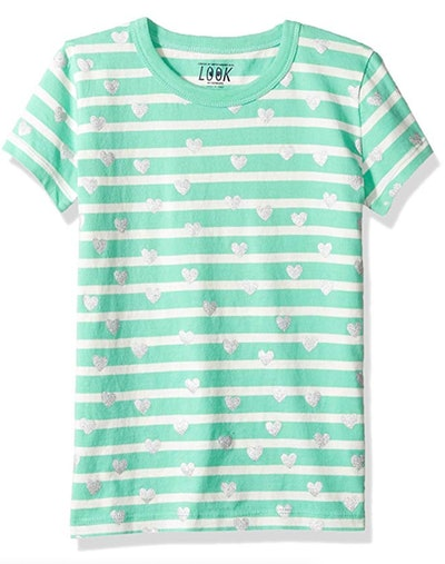 LOOK by crewcuts Girls' Short Sleeve Heart Stripe T-Shirt