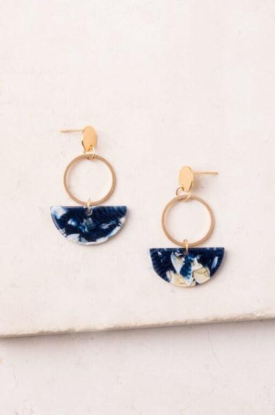 Ivy Blue; Resin & Gold Dangle Earrings