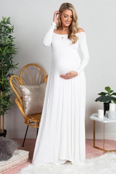Solid Off Shoulder Maternity Dress