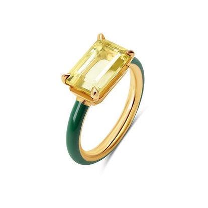 Small Stone Enamel Ring - Citrine with Moss