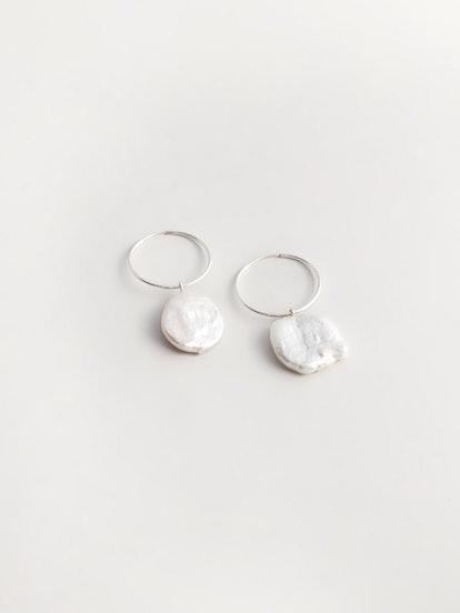 Pearl Hoop Earrings in Sterling Silver
