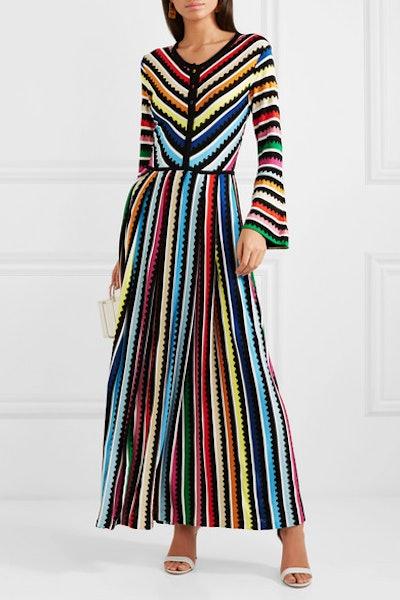 Maya Striped Crochet-knit Maxi Dress