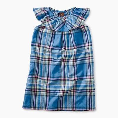 Madras Ruffle Neck Dress