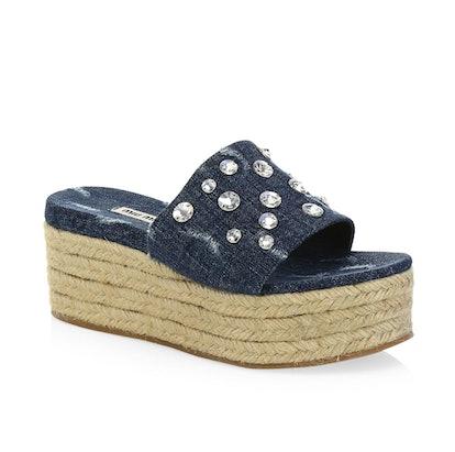 Summer Plexi Jeweled Denim Espadrille Slides