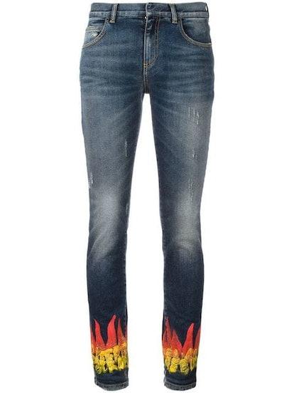 Flame Print Skinny Jeans