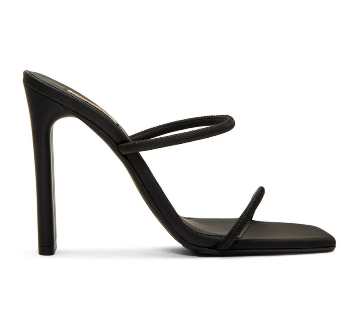 Black Minimal Heel Sandals