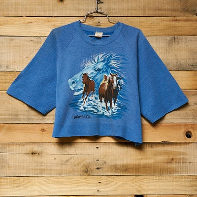 Vintage Dreamy Horses Cropped Fleece