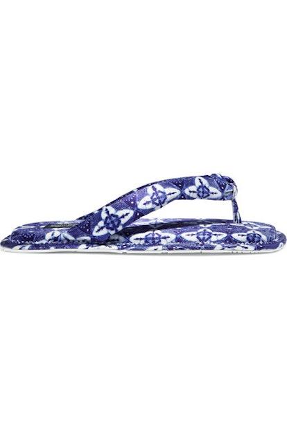Printed Satin Flip Flops