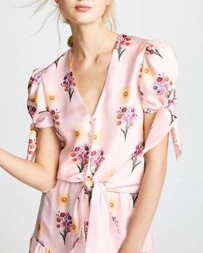 Silk Wrap Short-Sleeve Top