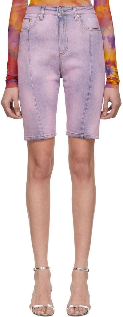 Purple Denim Bermuda Shorts