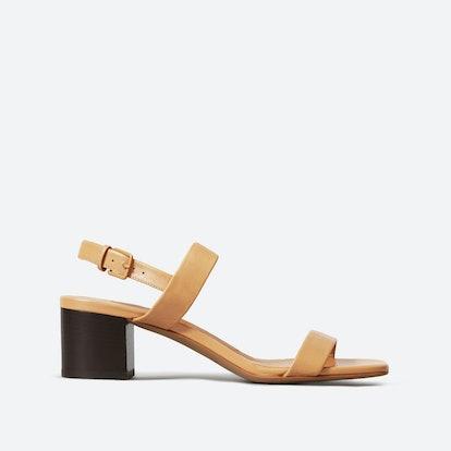 The Double-Strap Block Heel Sandal - Camel