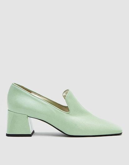 Heeled Smoking Loafer in Jade