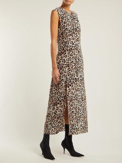 Knot-Front Leopard-Print Silk Dress