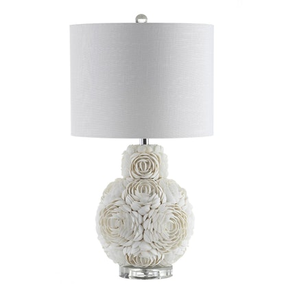 Seashell Rosette LED Table Lamp Cream