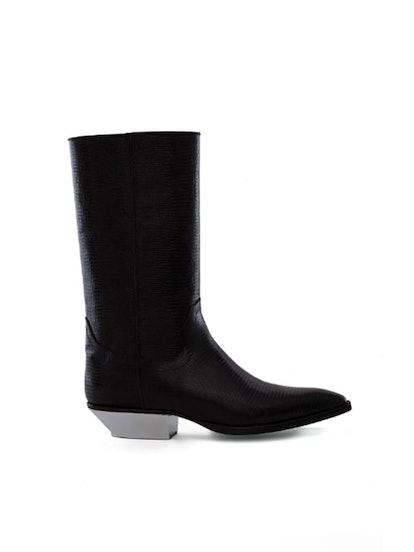 Black Fake Reptile Boot