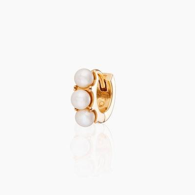Pearl Huggie Hoop 9-karat solid yellow gold
