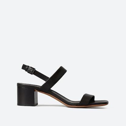 The Double-Strap Block Heel Sandal - Black
