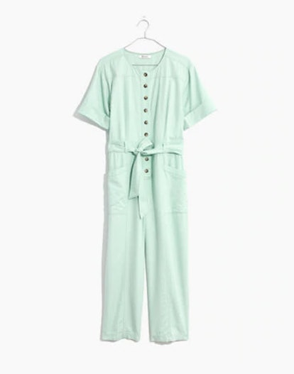 Top-Stitched Coverall Jumpsuit