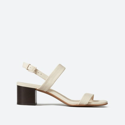 The Double-Strap Block Heel Sandal - Bone