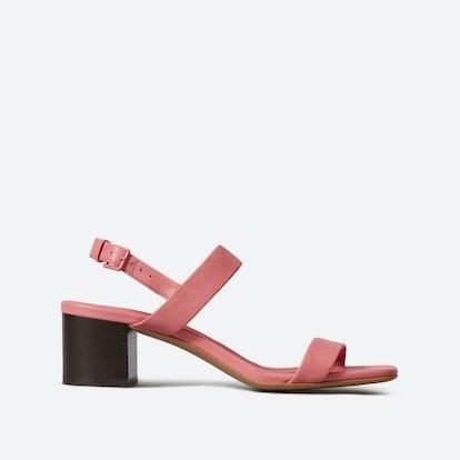 The Double-Strap Block Heel Sandal - Strawberry