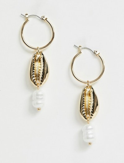 Pieces shell pearl detail earrings